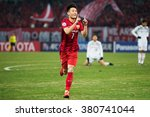 Small photo of SHANGHAI-CHINA FEBRUARY 09:Wu Lei (red) of Shanghai SIPG celebrates his goal during The AFC Champions League 2016 Playoff Shanghai SIPG and Muangthong Utd at Shanghai Stadium on Feb 09,2016 in China