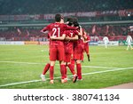 Small photo of SHANGHAI-CHINA FEBRUARY 09:Players of Shanghai SIPG celebrates during The AFC Champions League 2016 Playoff Shanghai SIPG and Muangthong Utd at Shanghai Stadium on Feb 09,2016 in China