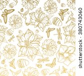 seamless pattern flowers  egg ... | Shutterstock .eps vector #380743060