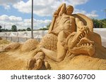 "Small photo of KOLOMENSKOYE MOSCOW RUSSIA - AUGUST 2 2013: ""Mystery of the world"". sand Sculpture Festival.Battle Siegfried (Sigurd) with the dragon Fafnir ""Song of the Nibelungs"". Author Sergey Knish Russia."