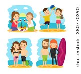 people on beach vacation | Shutterstock . vector #380770390