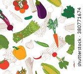 vegetables seamless pattern... | Shutterstock .eps vector #380771674