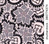 crazy flower seamless pattern.... | Shutterstock .eps vector #380774374