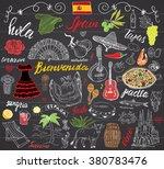 spain doodles elements. hand... | Shutterstock .eps vector #380783476