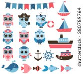 sailor owls  fish and water... | Shutterstock .eps vector #380789764