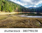 view on crystal clear lake with rocky shore near the pine forest at the foot of the  mountain - stock photo