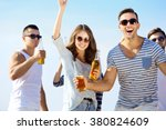 young people with beer on the...   Shutterstock . vector #380824609