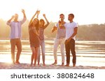 young people with beer on the... | Shutterstock . vector #380824648