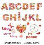 Hippie Floral Alphabet With...