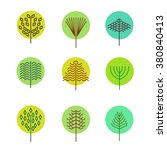 set of schematic trees and... | Shutterstock .eps vector #380840413