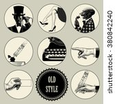 set of round images in vintage... | Shutterstock .eps vector #380842240