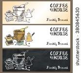 coffee doodles tableware banner ... | Shutterstock .eps vector #380845630