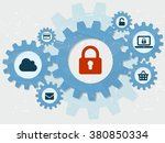 padlock and internet signs in... | Shutterstock . vector #380850334