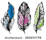 set of feathers | Shutterstock .eps vector #380854798