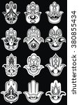 big set of hamsa hands on black | Shutterstock . vector #380855434