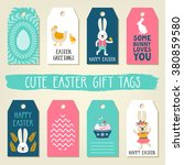 easter gift tags with cute... | Shutterstock .eps vector #380859580