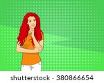 pretty woman look to copy space ... | Shutterstock .eps vector #380866654