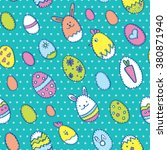 happy easter seamless pattern... | Shutterstock .eps vector #380871940