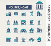 house  building icons | Shutterstock .eps vector #380872690