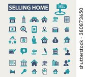 selling home  real estate icons | Shutterstock .eps vector #380873650