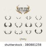 deer antlers. vector set | Shutterstock .eps vector #380881258