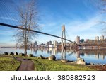 Sky-train bridge linking Surrey and New Westminster over the Fraser River British Columbia