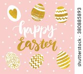 hand drawn happy easter ... | Shutterstock .eps vector #380885893