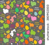 seamless easter pattern with...   Shutterstock .eps vector #380902003