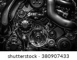 Engine.close Up. Black And...