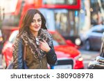 indian girl portrait in london. ... | Shutterstock . vector #380908978