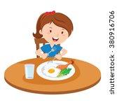girl eating meal. vector... | Shutterstock .eps vector #380916706