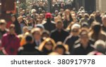 crowd walking street anonymous... | Shutterstock . vector #380917978