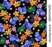 tropical flower orient lion... | Shutterstock .eps vector #380929600