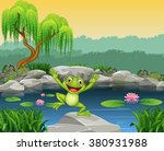 cartoon happy frog jumping on... | Shutterstock . vector #380931988