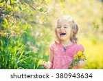 happy little girl playing with... | Shutterstock . vector #380943634