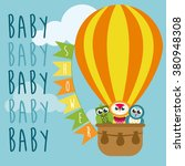 baby shower card with balloon... | Shutterstock .eps vector #380948308