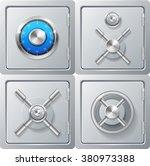 realistic metal safe set.... | Shutterstock .eps vector #380973388