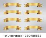 ribbon banner set.golden... | Shutterstock .eps vector #380985883