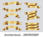 ribbon banner set.golden... | Shutterstock .eps vector #380985889