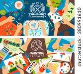 handmade creative kids banners. ... | Shutterstock .eps vector #380991610
