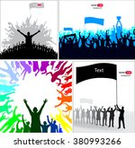 posters with cheering athletes... | Shutterstock .eps vector #380993266