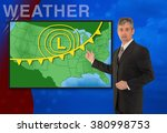 a tv television news weather... | Shutterstock . vector #380998753