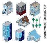 various building   solid figure | Shutterstock .eps vector #381007519