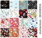 set seamless floral pattern.... | Shutterstock .eps vector #381008524