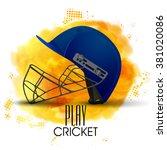 creative blue helmet on shiny... | Shutterstock .eps vector #381020086