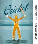 illustration of batsman in... | Shutterstock .eps vector #381020089