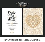 save the date cards  wedding... | Shutterstock .eps vector #381028453