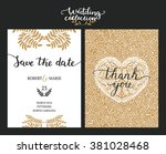 save the date cards  wedding... | Shutterstock .eps vector #381028468
