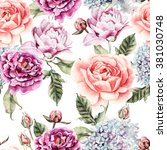 Watercolor Pattern With Flower...
