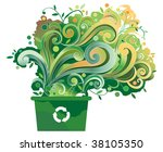 green recycle bin with graphic...   Shutterstock .eps vector #38105350